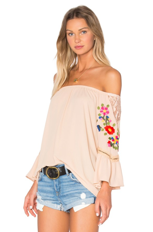 Peach embroidered off shoulder top