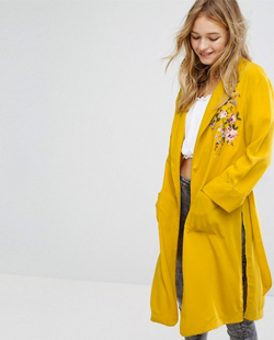 Embroidered Yellow Kimono Coat Jacket