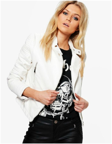 Boohoo Faux White Leather Jacket