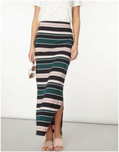 Dorothy Perkins Green and Blush Stripe Maxi Skirt