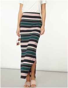 Dorothy Perkins Green and Blush Stripe Maxi Skirt