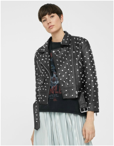 Mango Black Studded Leather Jacket
