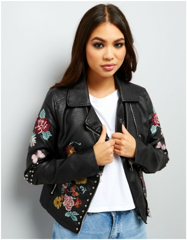 New Look Embroidered Floral Leather Jacket