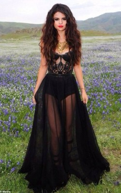 Selena Gomez black boho dress photo shoot