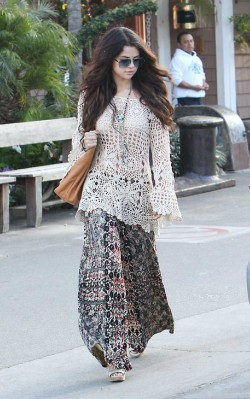 Selena Gomez boho inspiration maxi dress and sweater