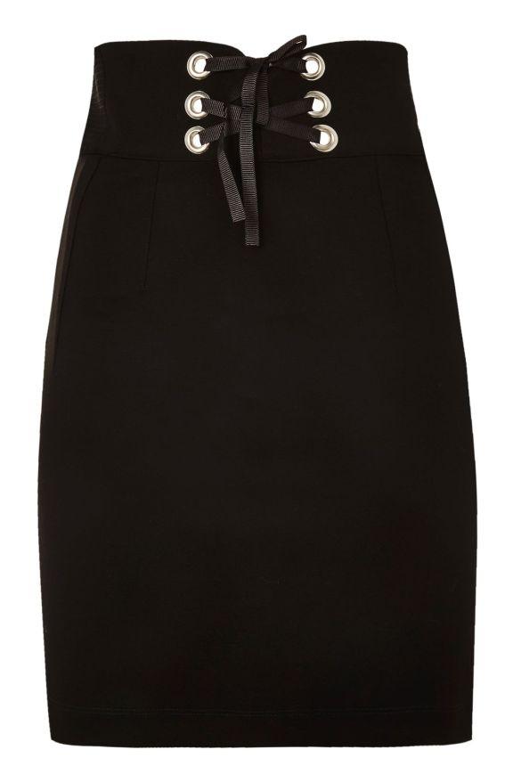Corset Waist Mini Skirt Black