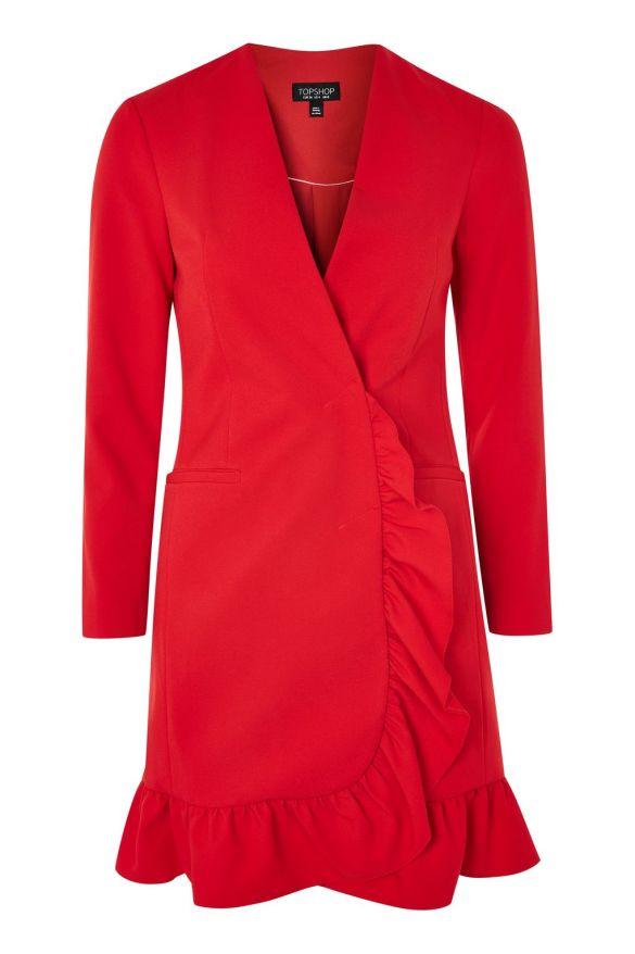 Red Frill Hem Blazer Dress