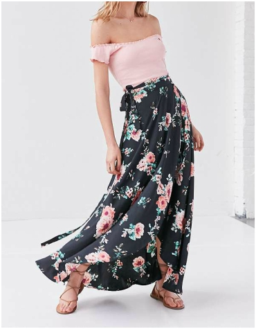 Urban Outfitters BOG Collective Tulip Wrap Maxi Skirt
