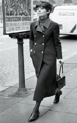 Audrey Hepburn winter/ autumn street style black military trench coat with black loafers - shop the look