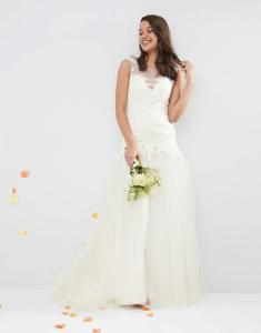 ASOS BRIDAL Princess Lace Bodice Mesh Skirt Maxi Dress