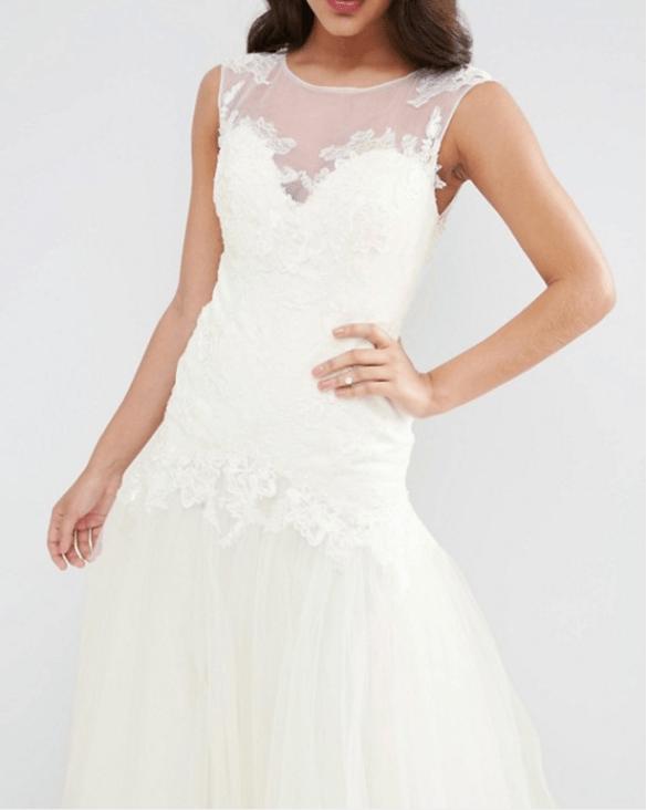 BRIDAL Princess Lace Bodice Mesh Skirt Maxi Dress