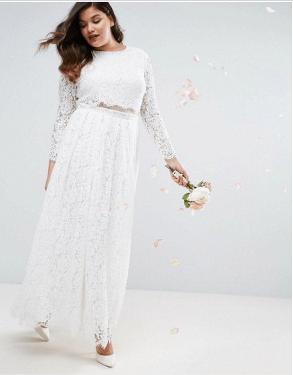 ASOS CURVE BRIDAL Lace Long Sleeve Maxi Prom Dress