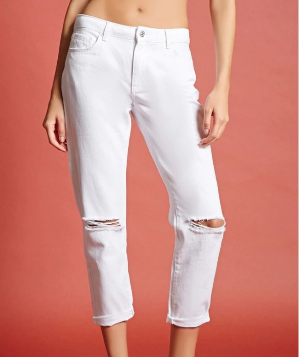 White mid-rise ankle jeans