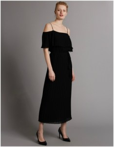 Marks and Spencer Black Pleated Cold Shoulder Maxi