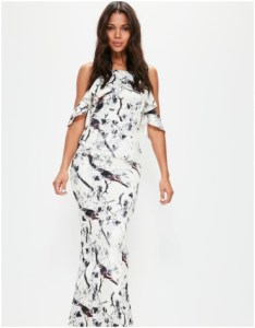 Missguided White Frill Cold Shoulder Printed Maxi Dress