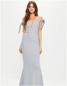 Missguided grey sweetheart neck bardot tie maxi dress