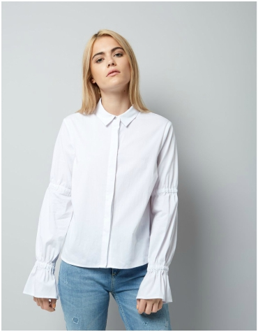 New Look White Ruched Bell Sleeve Shirt