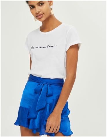 Topshop Blue Petite Tie Mini Skirt