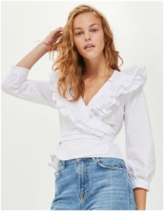 Topshop White Pleated Ruffle Wrap Top