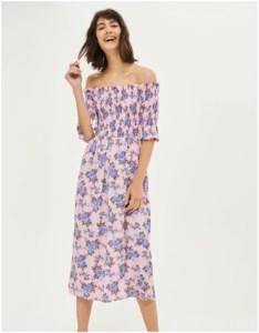 Topshop Shirred Floral Bardot Dress