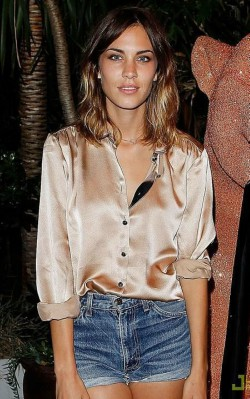 Alexa Chung style silk pink blouse with shorts - shop the look