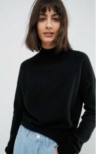 ASOS WHITE 100% Cashmere Turtleneck Sweater - $143 in black