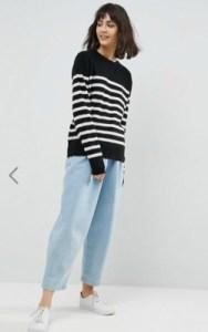 ASOS WHITE 100% Cashmere Crew Neck Sweater - $143 in black and white stripes