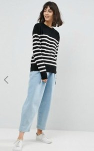 ASOS WHITE 100% Cashmere Crew Neck Sweater - $143 in black and white stripes