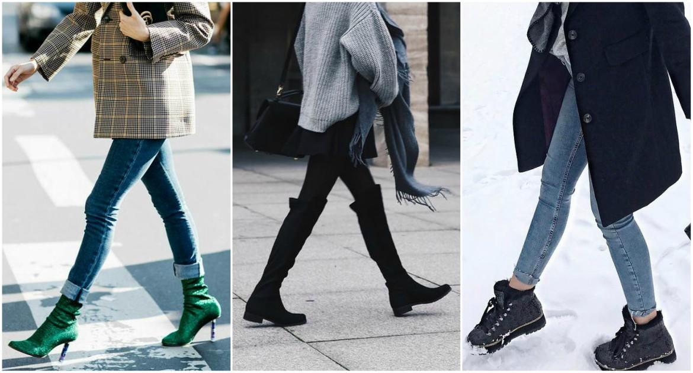 women wearing winter boots in the street