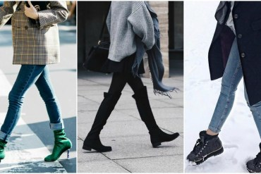 women wearing winter boots in the street