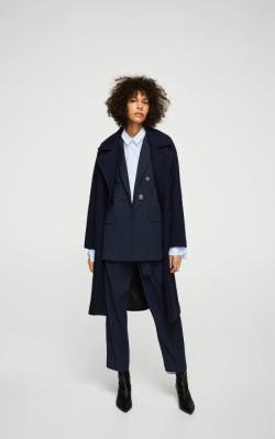 Mango Pinstripe oversize blazer in dark blue