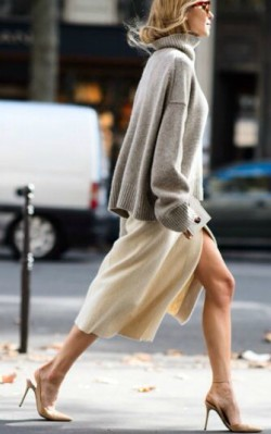 Grey oversized cashmere sweater/ jumper with polar neck worn over satin slip dress - shop the loo