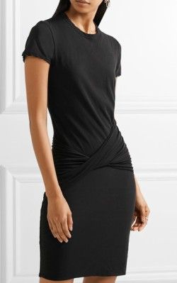 Net-a-Porter James Perse Twist-front ruched stretch cotton-jersey mini dress