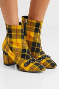 NO. 21 Embellished plaid canvas ankle boots