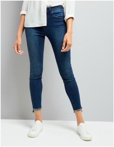 New Look Pale Blue Fray Hem Skinny Jenna Jeans