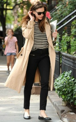 Liv Tyler street style trench coat with black jeans and a striped top - shop the look