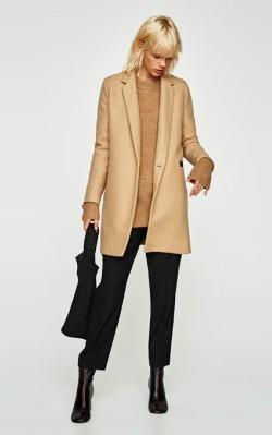 Zara SOFT-FEEL DOUBLE-BREASTED COAT - £69.99 camel coat - shop