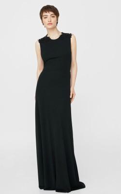 Mango Guipure appliqué dress - $199.99 - full length black dress