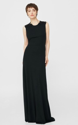 Mango Guipure appliqué dress - $199.99 - full length black dress