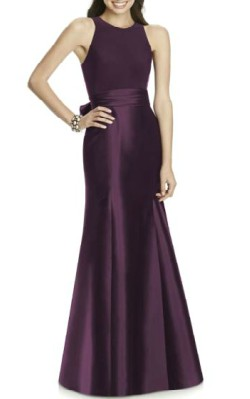 Nordstrom Alfred Sung Mikado Jersey Bodice Trumpet Gown - $218 - full length purple evening gown