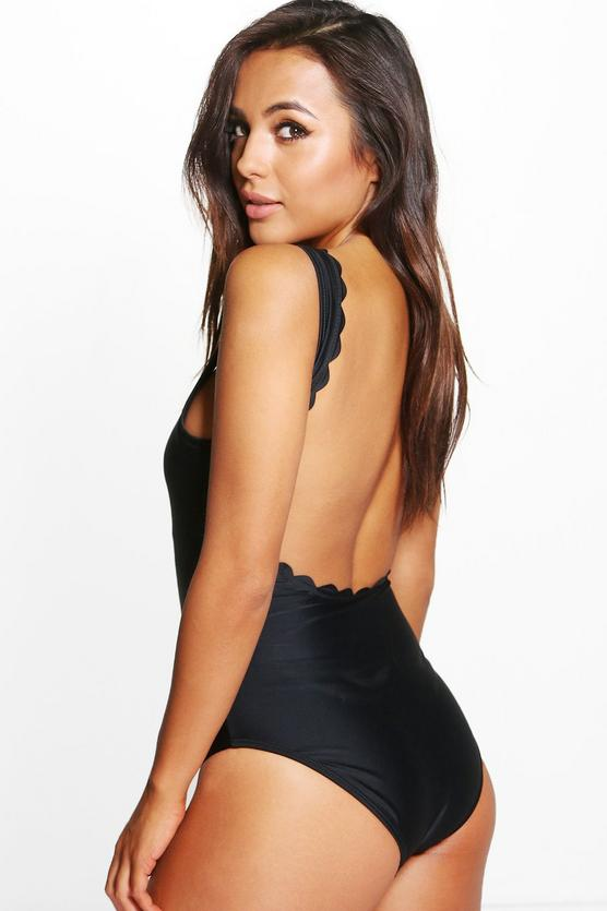 Boohoo.com Petite Cassie Scallop Back Swimsuit