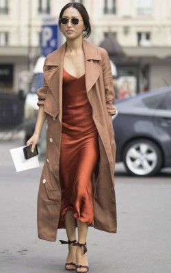 How to style a camel coat dressy - red satin v-neck dress and camel coat