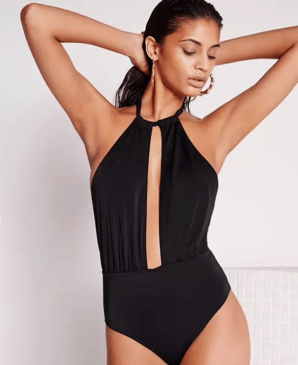 Missguided grecian halter neck swimsuit black