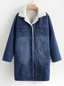 She In Denim Contrast Faux Shearling Bleached Coat