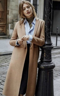 How to style a camel coat for work - shirt, pencil skirt and camel coat