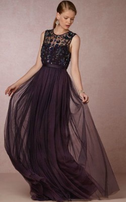 What to wear to a black tie dinner - full length black gown with tulle and a high neck