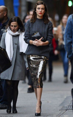 Alexa Chung wearing silver sequined pencil skirt and sweater