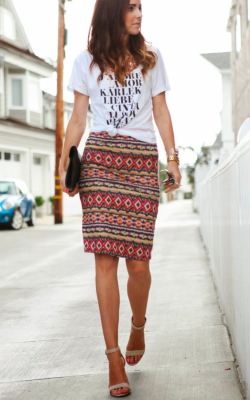 Woman in red aztec print pencil skirt - 50 best pencil skirts