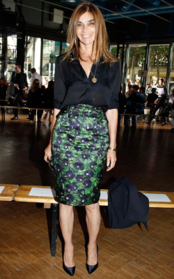 Carine Roitfeld in green and blue pencil skirt and black shirt