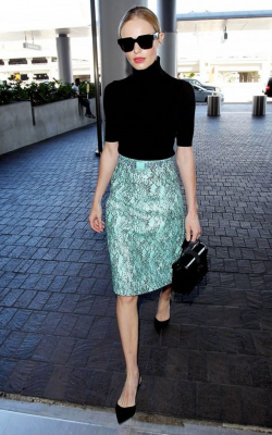 Kate Bosworth in blue-green pencil skirt and black roll neck top